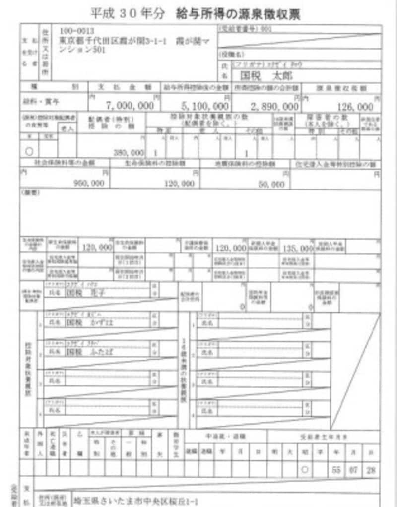 源泉徴収票 記載例抜粋 (筆者作成)