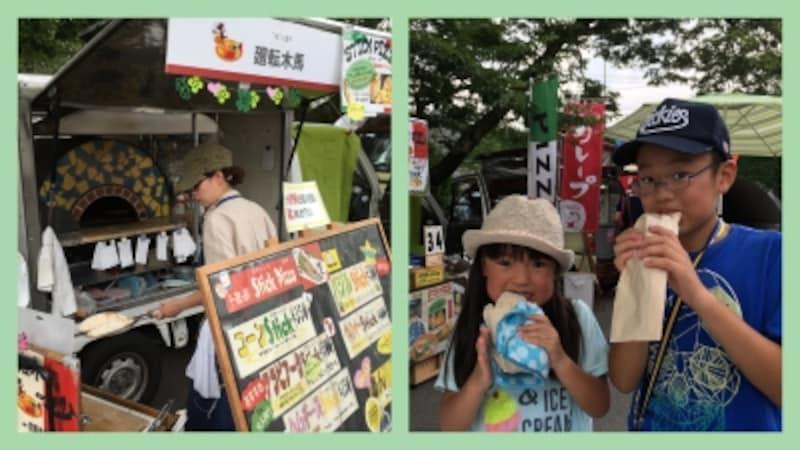 スティックピザが大人気(写真左)、ハムチーズのピザが大好きな良太くんと綾乃ちゃん(写真右)