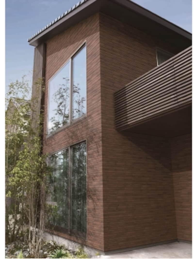 2種類の形状をミックスしたレンガ調タイルは特徴的な水平基調を印象付けるデザイン。クラシカルな壁面に仕上がる。[HALALLシリーズメルヴィオアルデア]undefinedLIXILundefinedhttp://www.lixil.co.jp/