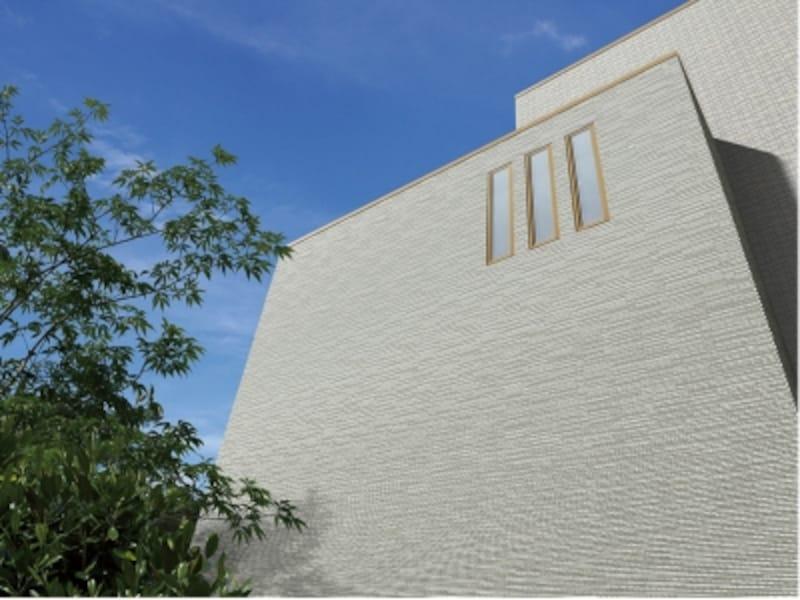 住宅外装壁向けの弾性接着剤張り工法「はるかべ工法」用タイル。外壁のアクセントにもなるボーダー形状が特徴。undefined[HALPLUSシリーズ細波]undefinedLIXIL