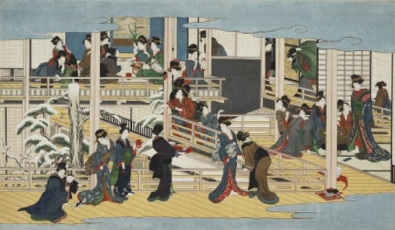 喜多川歌麿「深川の雪」江戸時代享和2~文化3年(1802~06)頃