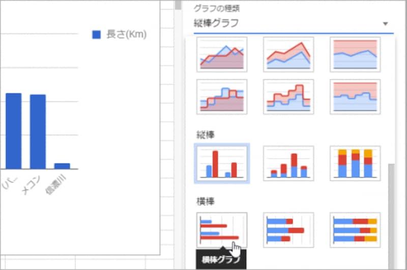 グラフの種類が一覧表示されるので、[横棒]を選択します