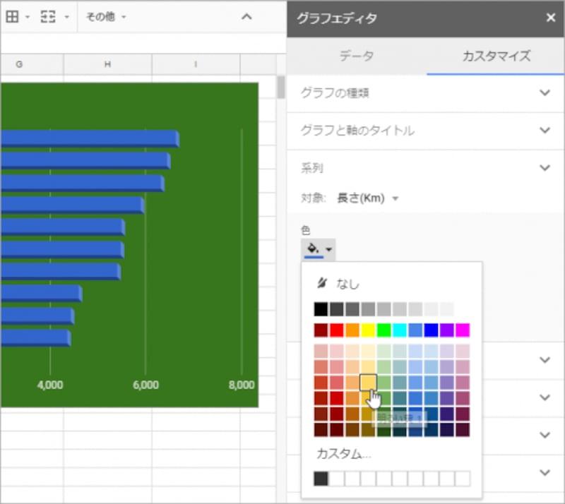 8.[系列]をクリックして設定項目を表示します。9.[色]をクリックして色の一覧を表示します。10.色をクリックして選択します