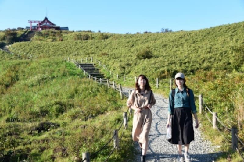 高原のような風景が広がる駒ヶ岳山頂付近。左に見えるのは、箱根神社元宮