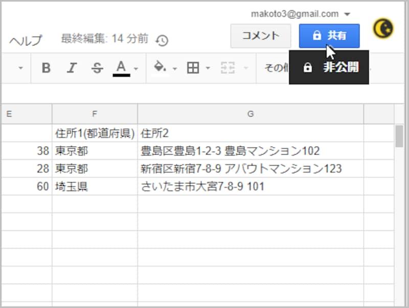 1.共有したいファイルを読み込んだら、右上の[共有]ボタンをクリックします