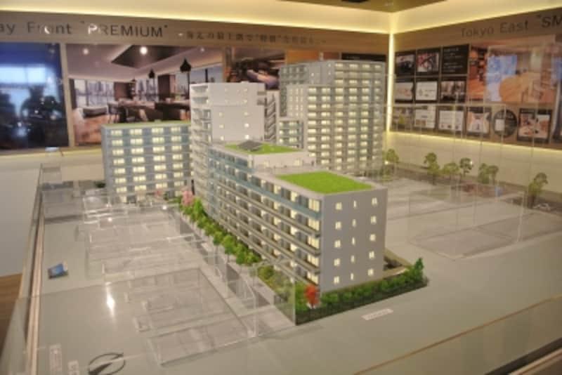 「プラウドシティ越中島」の完成予想模型