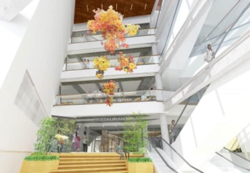 湘南江の島駅エスカレーター・エレベーターを設置する新棟の内観イメージ(湘南モノレール提供)