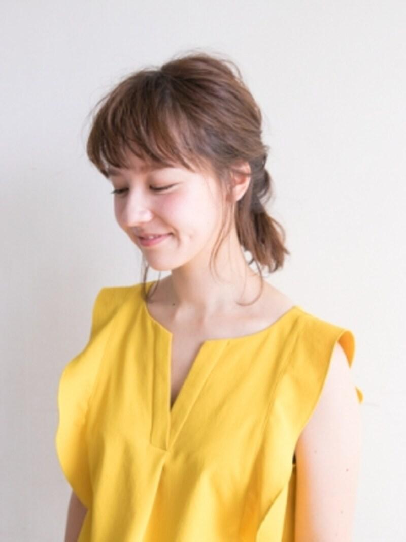 伸ばしかけボブのヘアアレンジ 簡単まとめ髪ですっきり ヘア