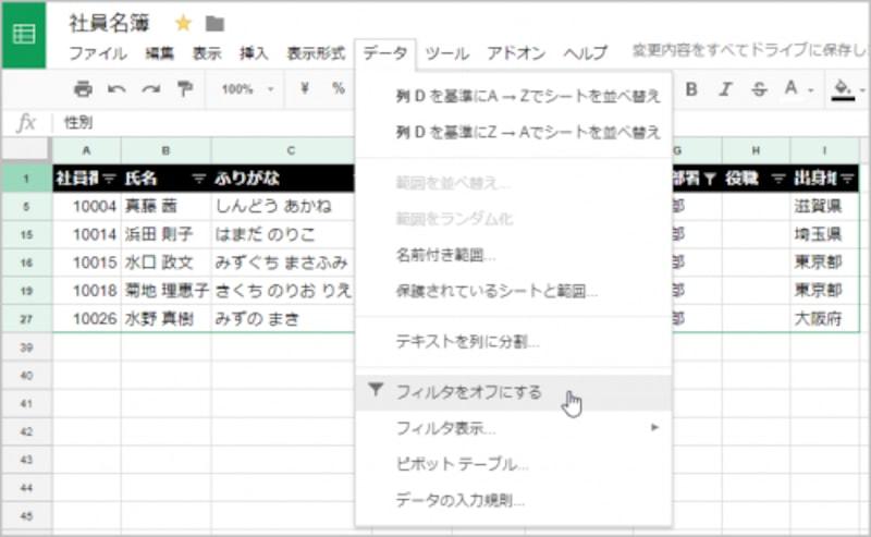 1.データが絞り込まれた状態で、[データ]の[フィルタをオフにする]を選択します。