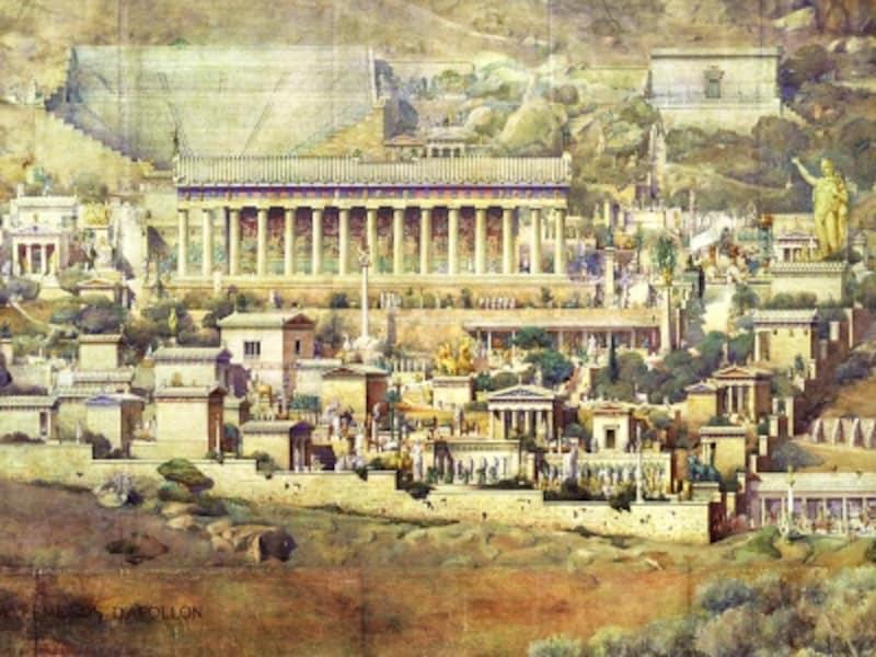 アルベール・トゥルネル「デルフィ・アポロンの神域の再構築」1894年