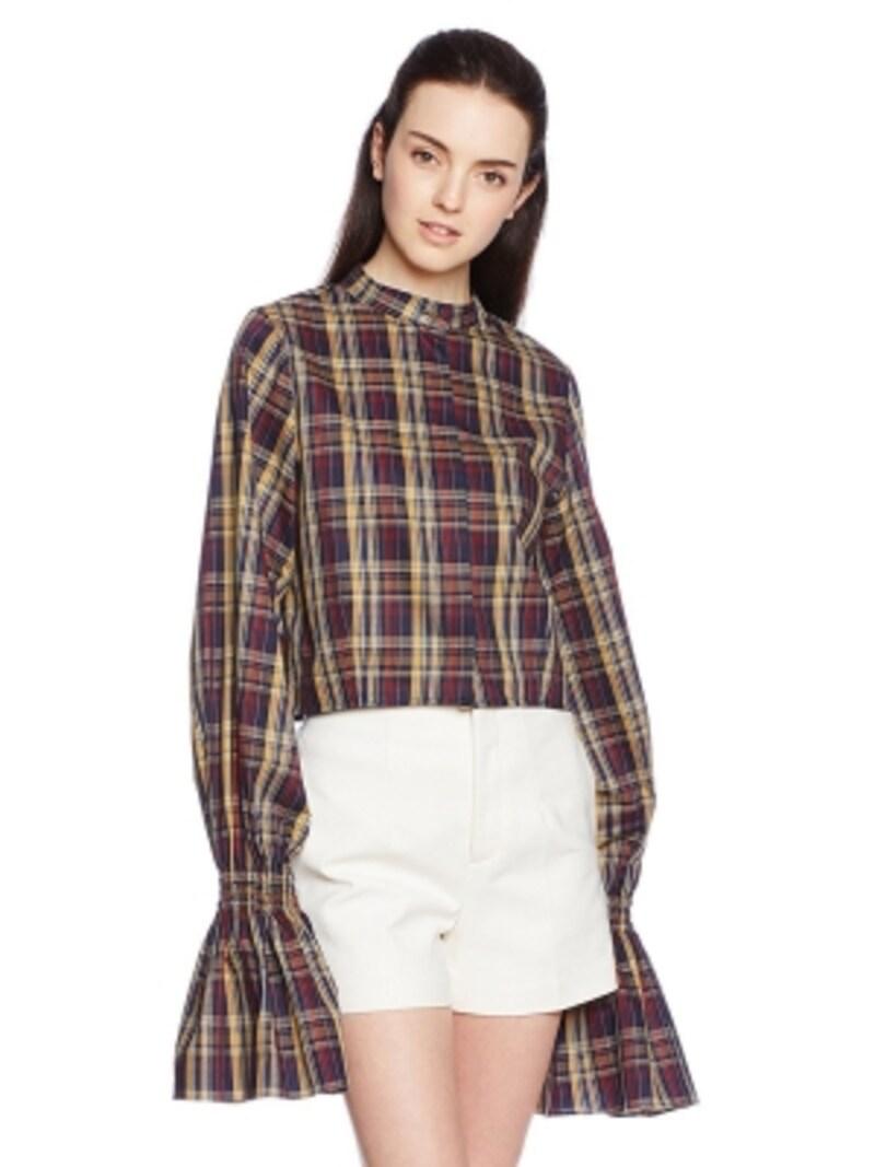 チェック柄のパフスリーブシャツ(エリン)ELINPlaidpuffslveshirt