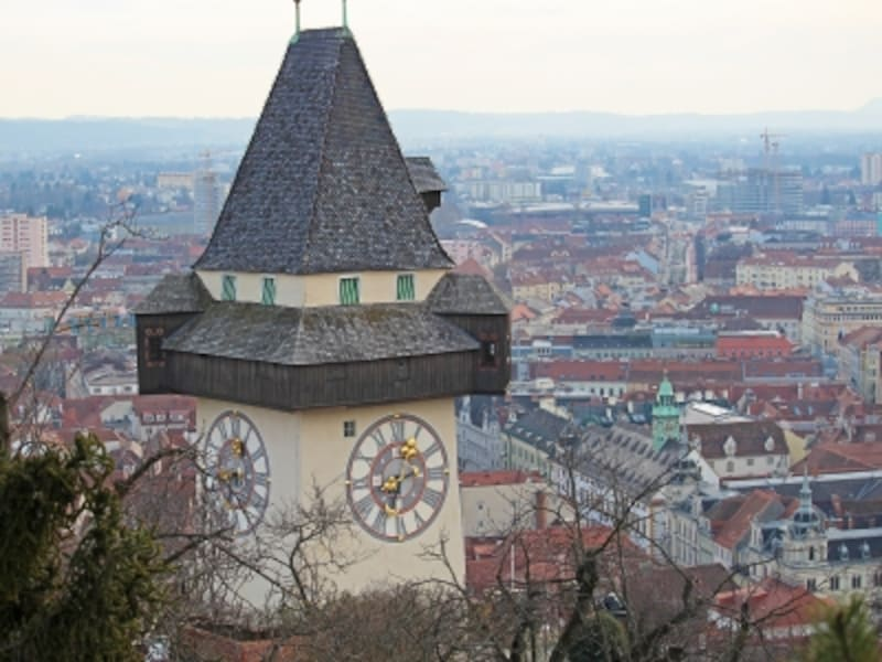 シュロスベルクの時計塔と歴史地区の街並み