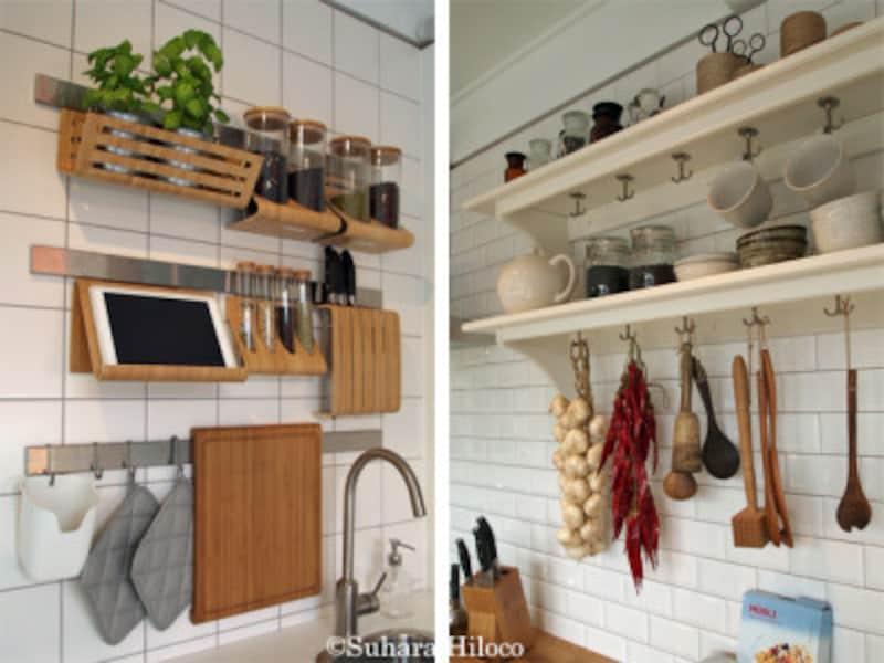 タブレットが目の前にあるとレシピが見やすい(左)。棚プラスフックで料理家のキッチンスタジオ風に(右)