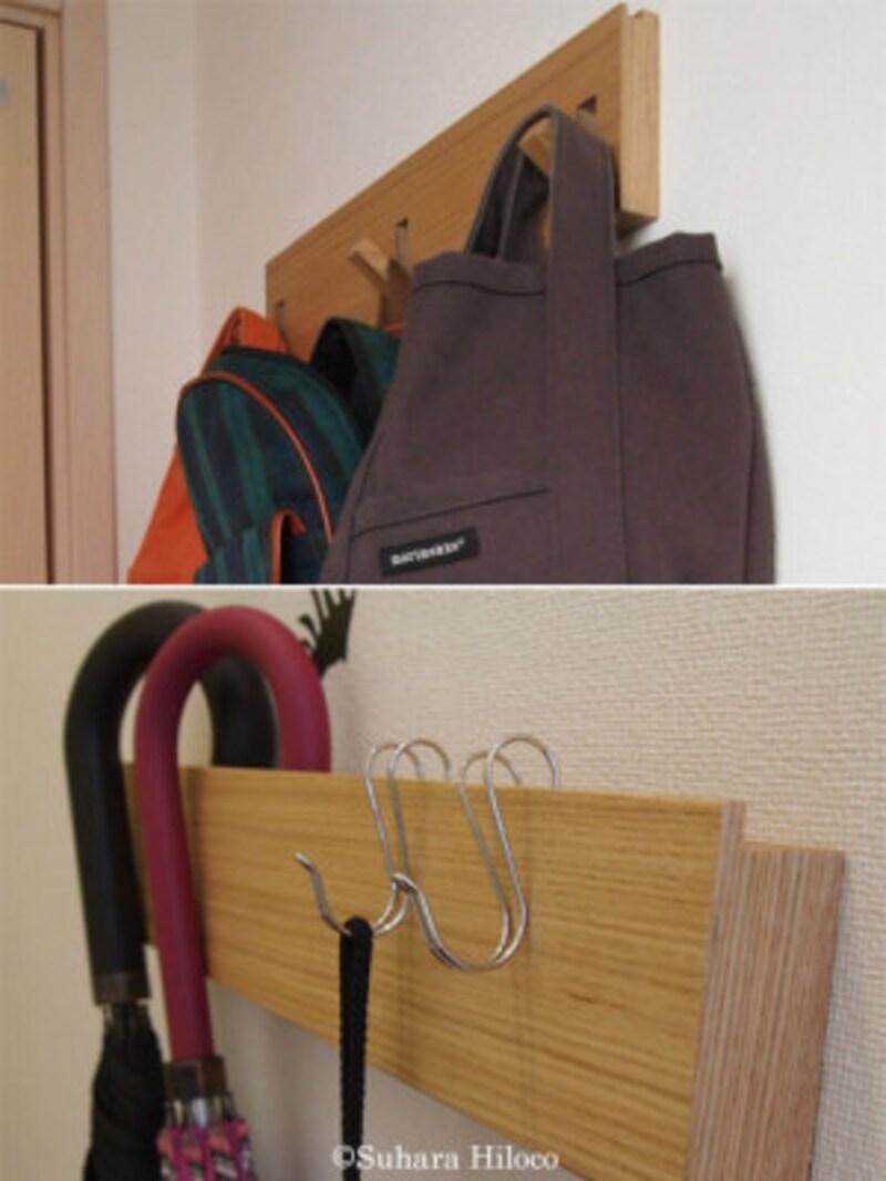 3連フックタイプ(上)と長押タイプ(下)ともに、厚みがないので玄関や廊下などの壁が有効に使える