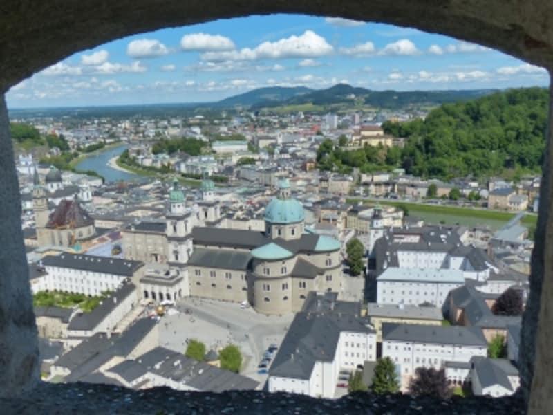 ホーエンザルツブルク城から見たザルツブルク歴史地区