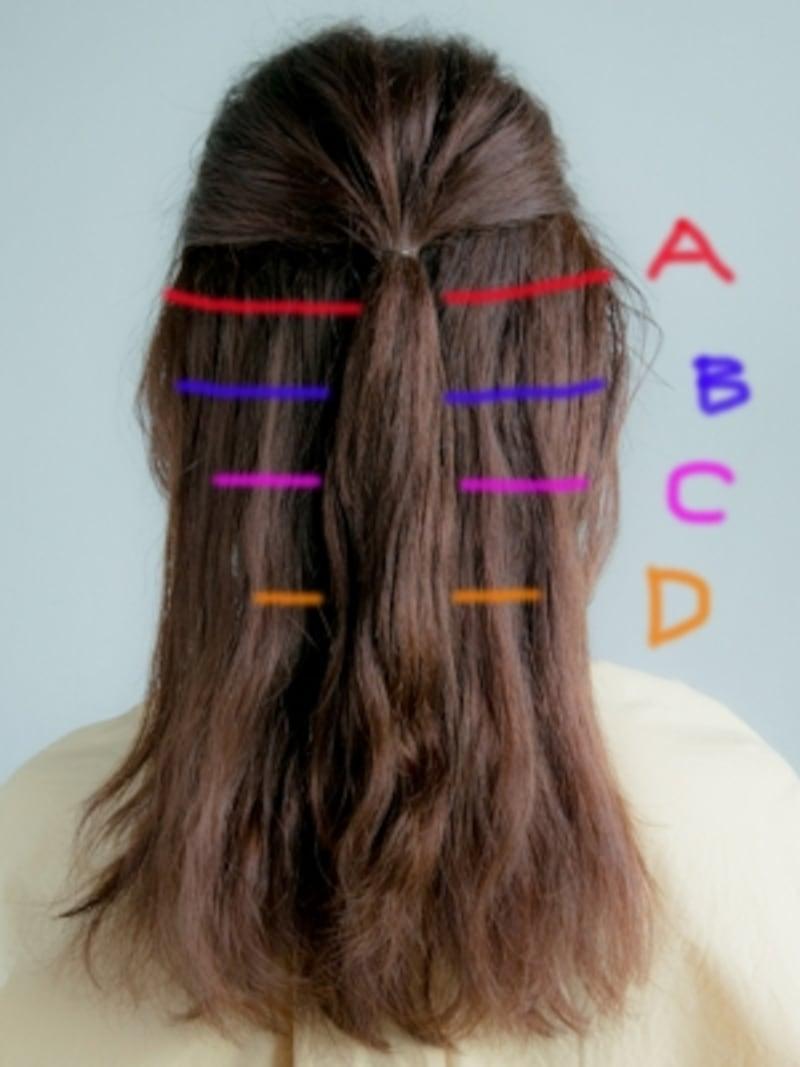 中央で結んでから、A~Dの髪を分けとる
