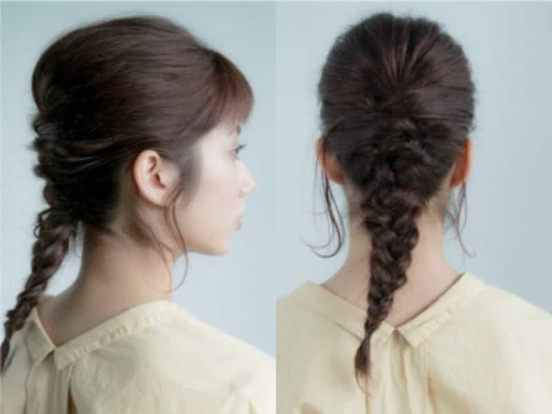 編み込み風簡単まとめ髪
