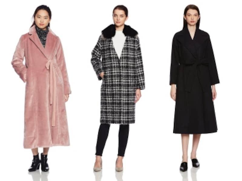 2017秋冬新作コートは、フェイクファー、ツイード、メルトンなど、色柄やデザインのバリエーションが充実しています。