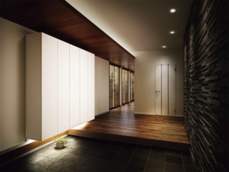 玄関収納などとデザインを統一することが可能。まとまりのある空間を実現できる。undefined[ハピアプレミア片開きドア3Pデザイン〈モノホワイト〉]undefinedDAIKENhttps://www.daiken.jp/