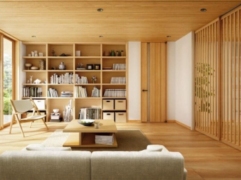 明るいナチュラルな空間を実現する建具。天井までのデザインは空間に広がりを。[室内ドアT61デザインナチュラルチェリー/スクリーンパーティション間仕切Jタイプナチュラルチェリー/タフテクトBナチュラル]undefinedYKKAPhttp://www.ykkap.co.jp/