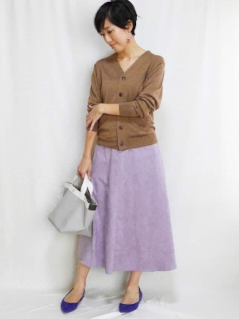 ウールシルク洗えるポケット付きVネックカーディガン