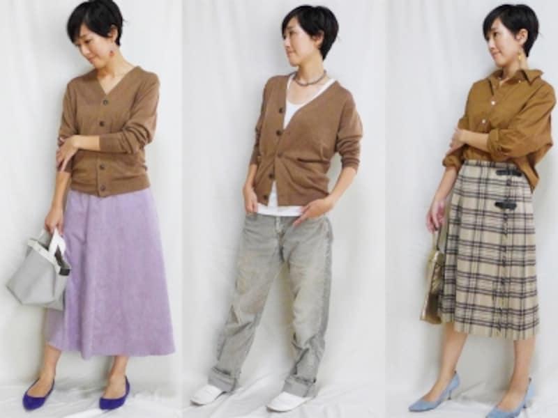 メンズアイテムを使ったコーデ例。デニムはもちろんスカートとも好相性!ガイド身長165cm