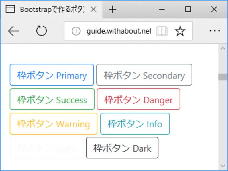 Bootstrap4で指定できるボタンの配色8種類(枠線のみ)