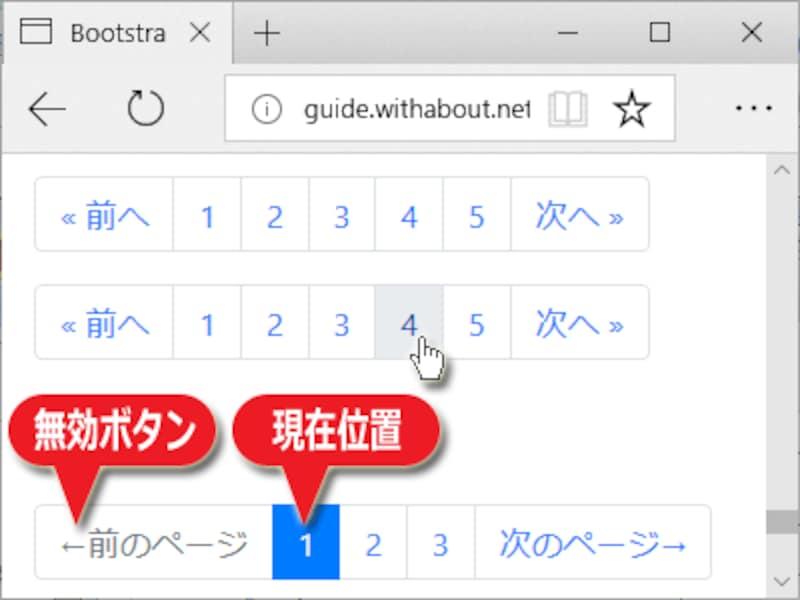 Bootstrap4で作成できるページ移動用ボタン群