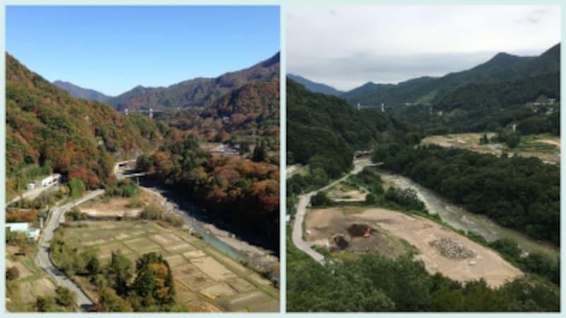 ダムができると湖底に沈む景色を同じ場所から撮影