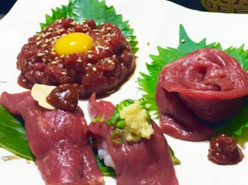 鉄鋼泉本館の「馬肉料理」.馬肉寿司.馬肉.諏訪の馬肉
