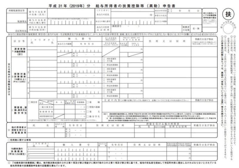 平成31年(2019年)扶養控除等(異動)申告書 フォーマット (出典:国税庁資料より)
