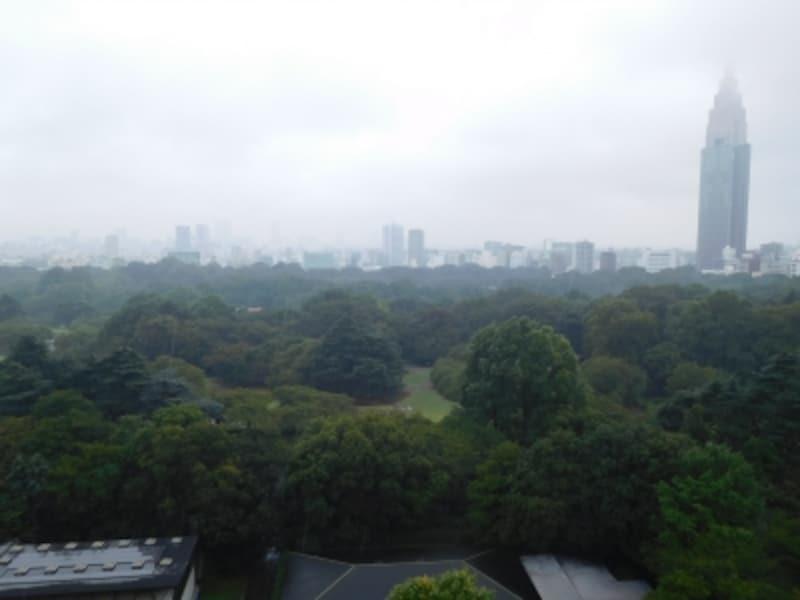 「ザ・パークハウス新宿御苑」の屋上テラスからの景色