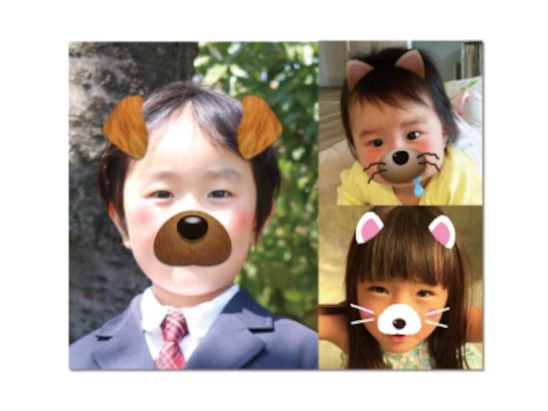 「おもしろ顔スタンプ」は、人物写真を選ぶだけで犬のパーツを自動的に合成してくれる機能です(画像は公式サイトhttp://www.sourcenext.com/product/fudeoh/より引用)