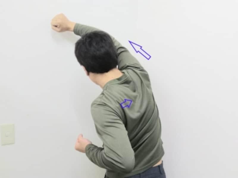 腕を可能な限り遠くへ伸ばすようなイメージで動かします