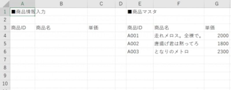 商品情報の入力シート