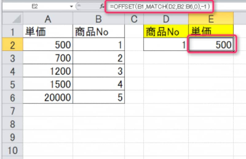 OFFSET関数とMATCH関数の合わせ技