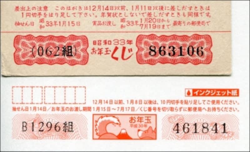 1958年と2018年の年賀はがきのくじ部分