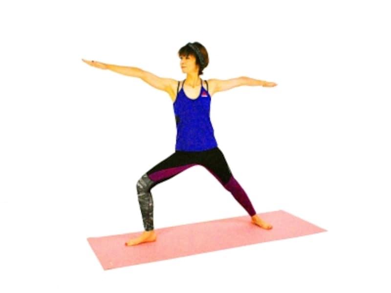 ウッティタ・パールシュヴァコナーサナ2undefined右かかとの上に膝がくるように、膝の向きに注意。肩が上がり過ぎないように注意。