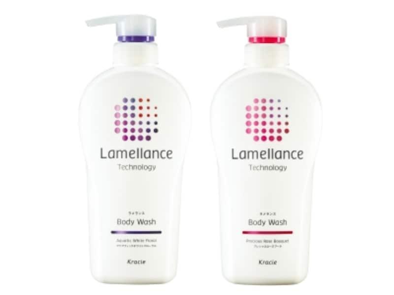 アクアティックホワイトフローラル(左)とプレシャスローズブーケ(右)の2つの香りが楽しめるラメランスボディウォッシュ
