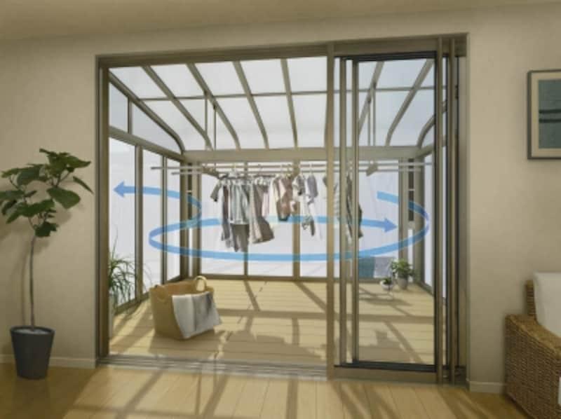 空気が流れるような工夫も必要。独自の構造「エアールーバー」が、風の入口と出口となり、空気が循環する。 [サンフィール3テラス囲いスタンダードタイプ床納まりアール型屋根ふき材:ポリカ(トーメイマット)風の流れイメージ:洗濯物H2]YKKAPhttp://www.ykkap.co.jp/