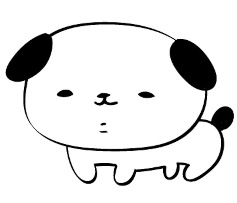 白黒の犬 イラスト 年賀状 カラー かわいい