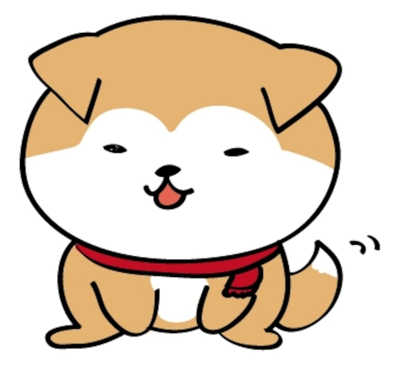 日本犬 イラスト 年賀状 カラー かわいい
