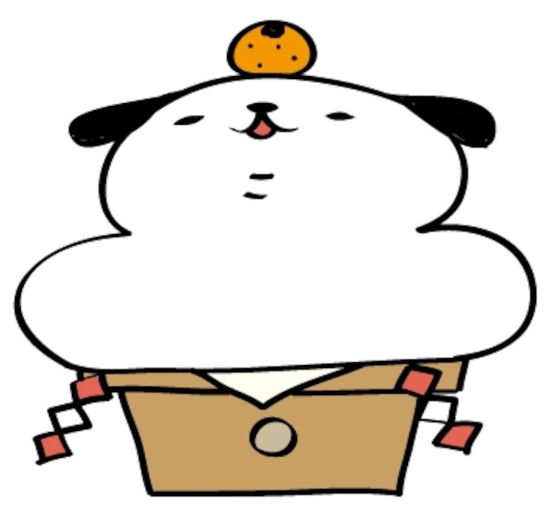 鏡餅 犬 イラスト 年賀状 カラー かわいい