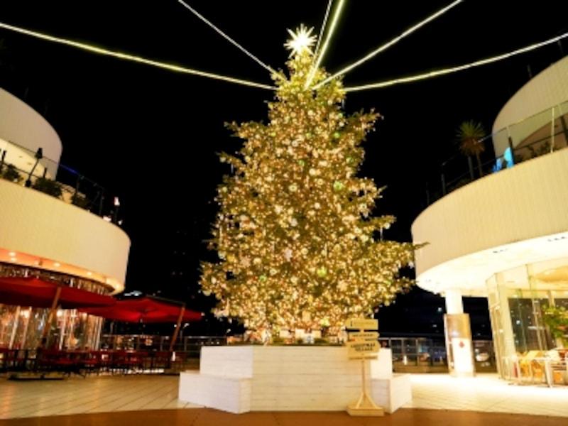 横浜ベイクォーター3階メイン広場には、北欧のクリスマスオーナメント「ヒンメリ」が飾り付けされたツリーが登場(2017年11月5日撮影)