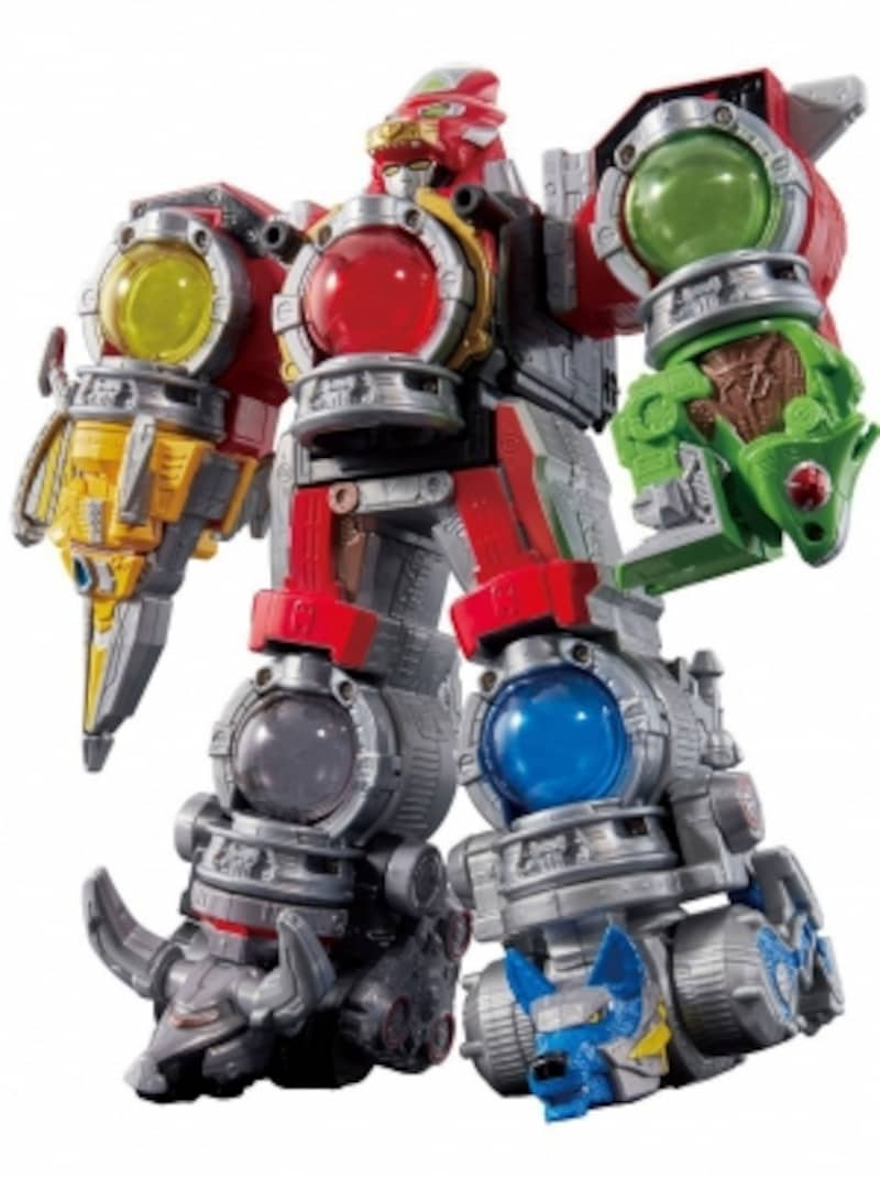 音声、発光、手足の自由換装ギミック搭載で合体ロボットの魅力が満載です