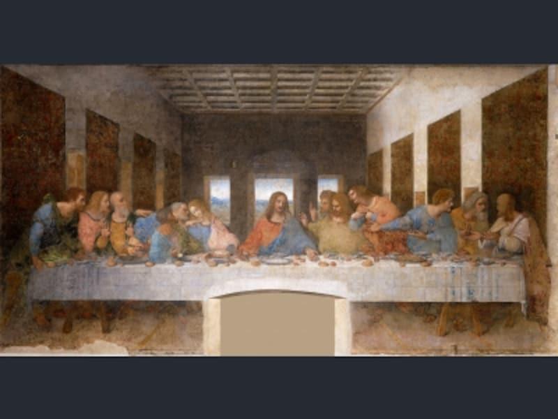 レオナルド・ダ・ヴィンチ『最後の晩餐』1495-98年、サンタ・マリア・デッレ・グラツィエ教会