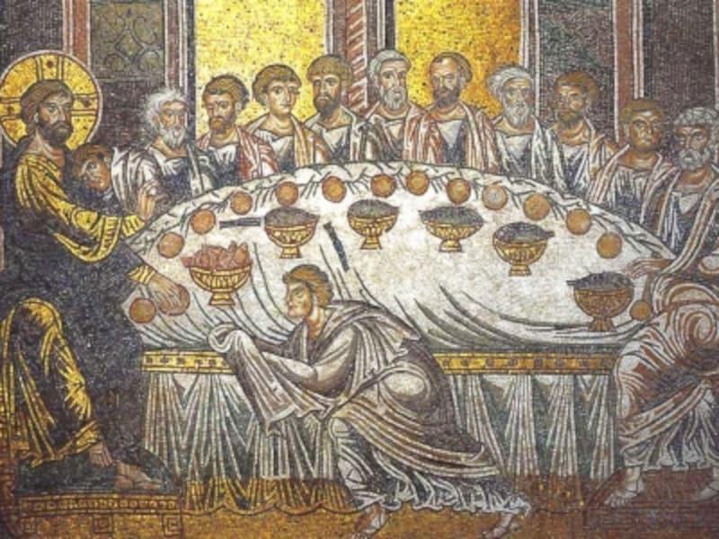 イタリア・シチリア島、モンレアーレ大聖堂のモザイク『最後の晩餐』