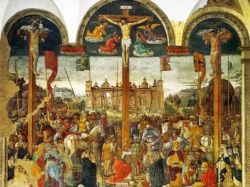 ジョヴァンニ・ドナート・モントルファノ『イエスの磔刑図』1497年、サンタ・マリア・デッレ・グラツィエ教会