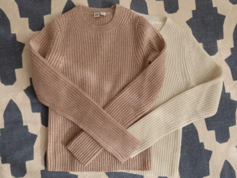 uniqlou,リブニット,シャイニークルーネックセーター(長袖)