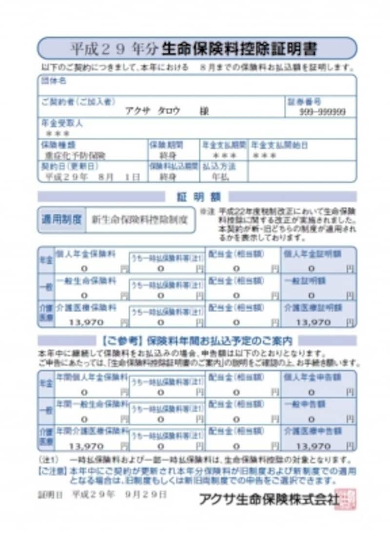 生命保険料控除証明書の一例(アクサ生命保険株式会社の場合。アクサ生命保険会社HPより)